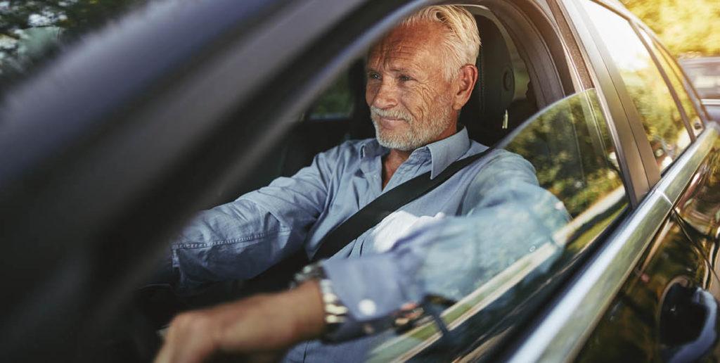 Elderly man driving calm