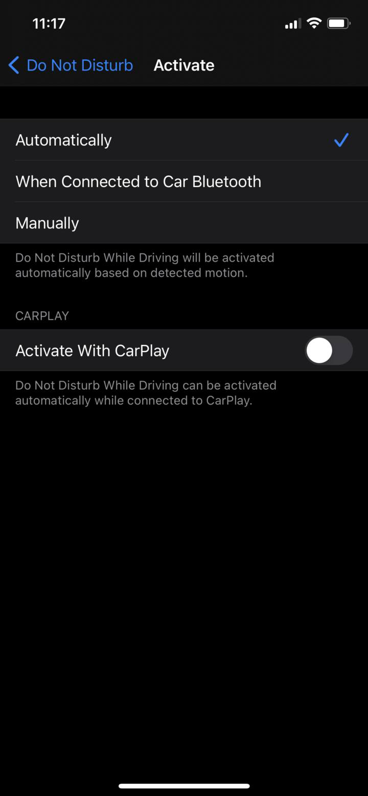 """Tap """"When connected to Car Bluetooth"""" or """"Automatically."""""""